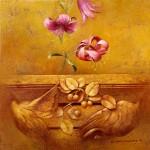 Arquitectura y flor - Óleo  Lienzo - 50x50 cm - 1996